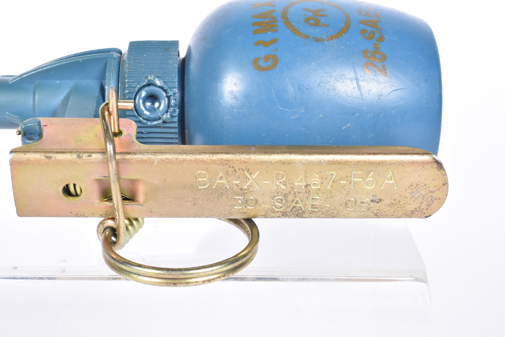 An inert French M51 practice grenade, having blue body with stamp, complete with spoon and pin, also - Image 3 of 4