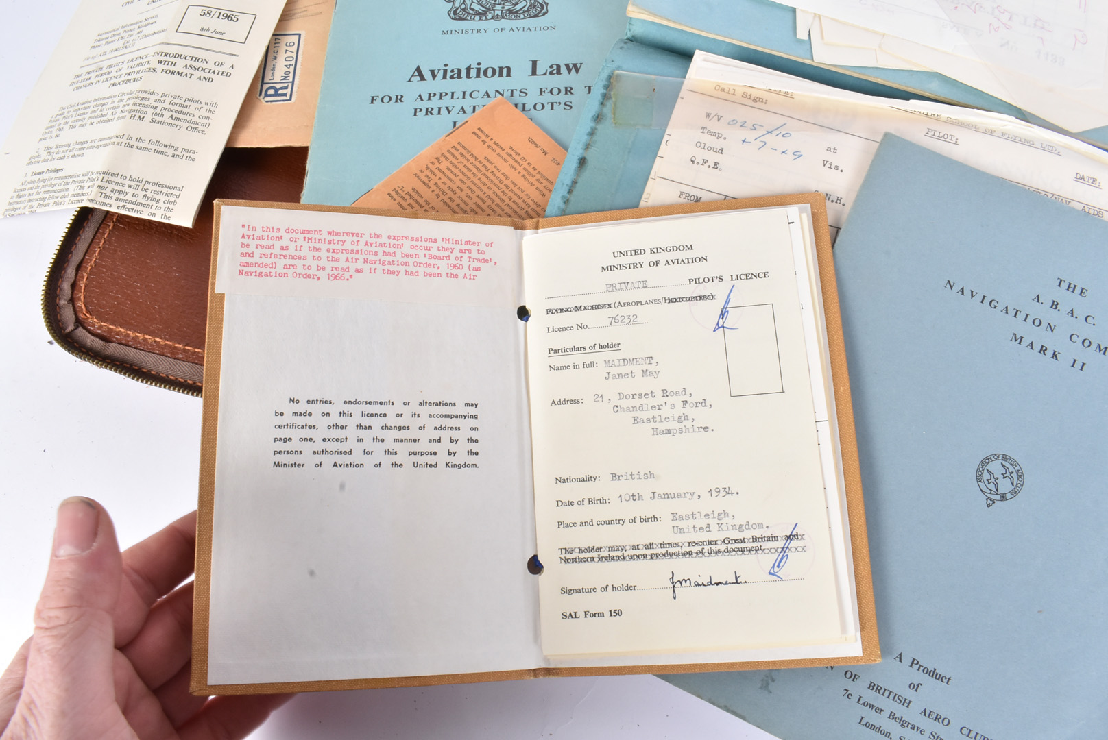 A Female's Private Pilot Licence and Log book, dated to the 1970s, the documents for Private - Image 2 of 5