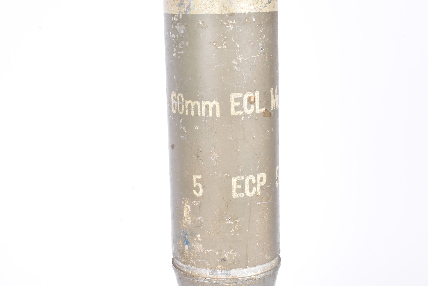 An inert 60mm ECL MLE 54 Mortar, possibly French, 36cm in length with stencilling to the middle, - Image 2 of 4