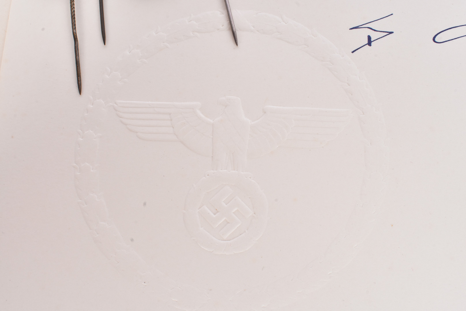 A reproduction Citation, having Third Reich blind stamp and signature, together with a small - Image 2 of 6