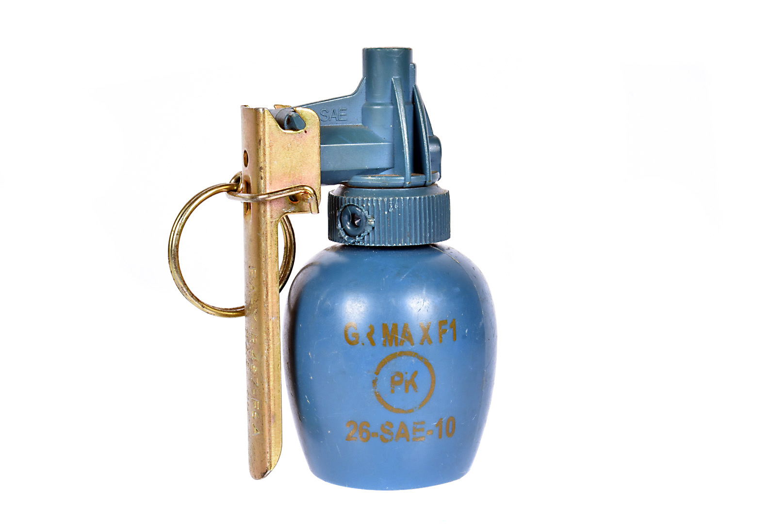 An inert French M51 practice grenade, having blue body with stamp, complete with spoon and pin, also