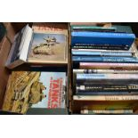 A collection of military vehicle related books, covering Army, Navy and Air Force, for different