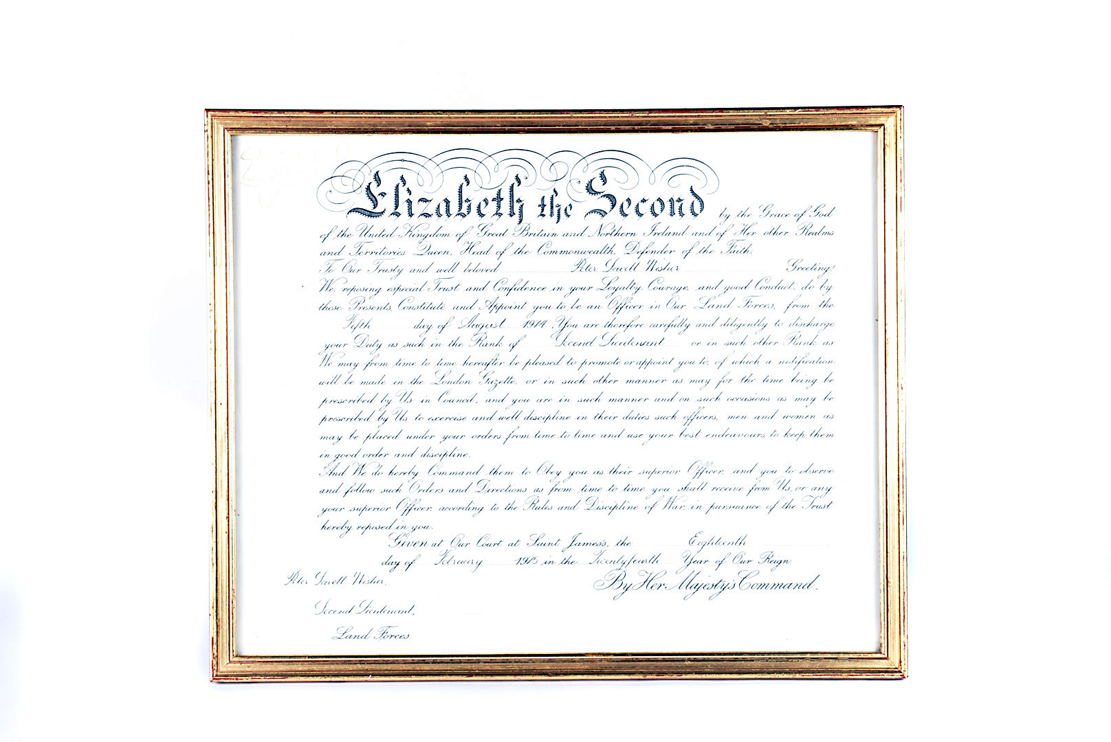 A Queen Elizabeth II Military Commission, awarded to Second Lieutenant Peter Savell Wisher of the