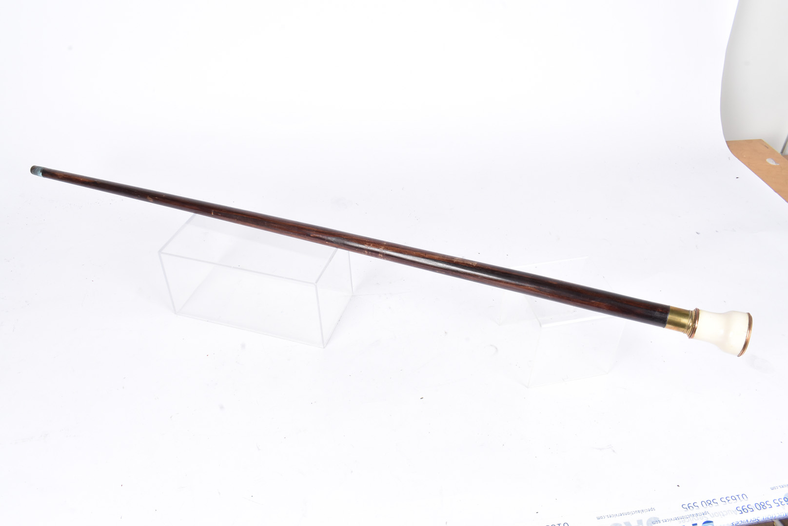 An ivory topped walking cane, the top, possibly from the body of binoculars, made of ivory and - Image 3 of 3