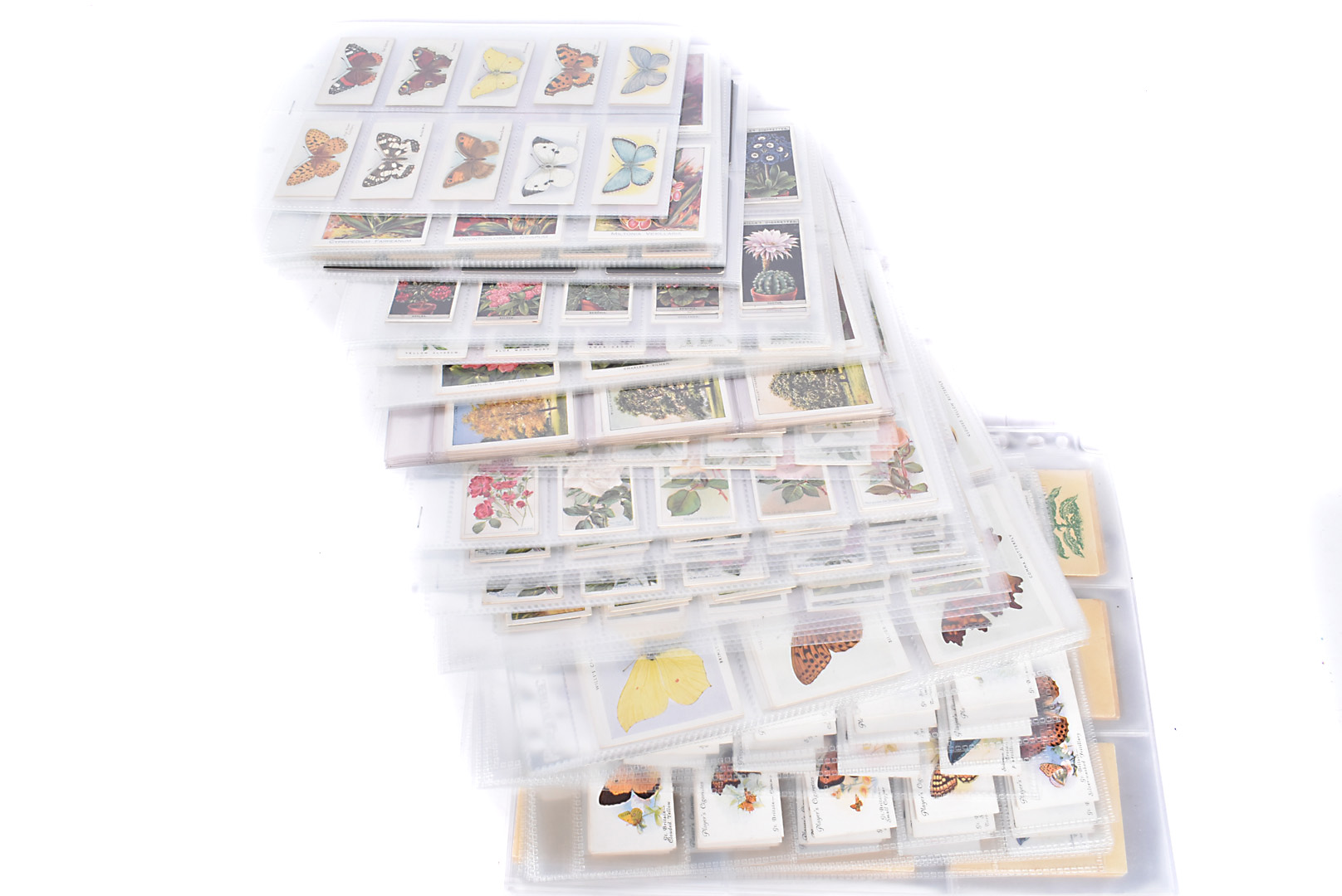 Butterflies and Botanical Themed Cigarette Trade Cards and Silks, various sets comprising Players