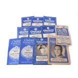 Chelsea Football Programmes, twelve Chelsea football programmes, Aston Villa 1947, Liverpool 1949,