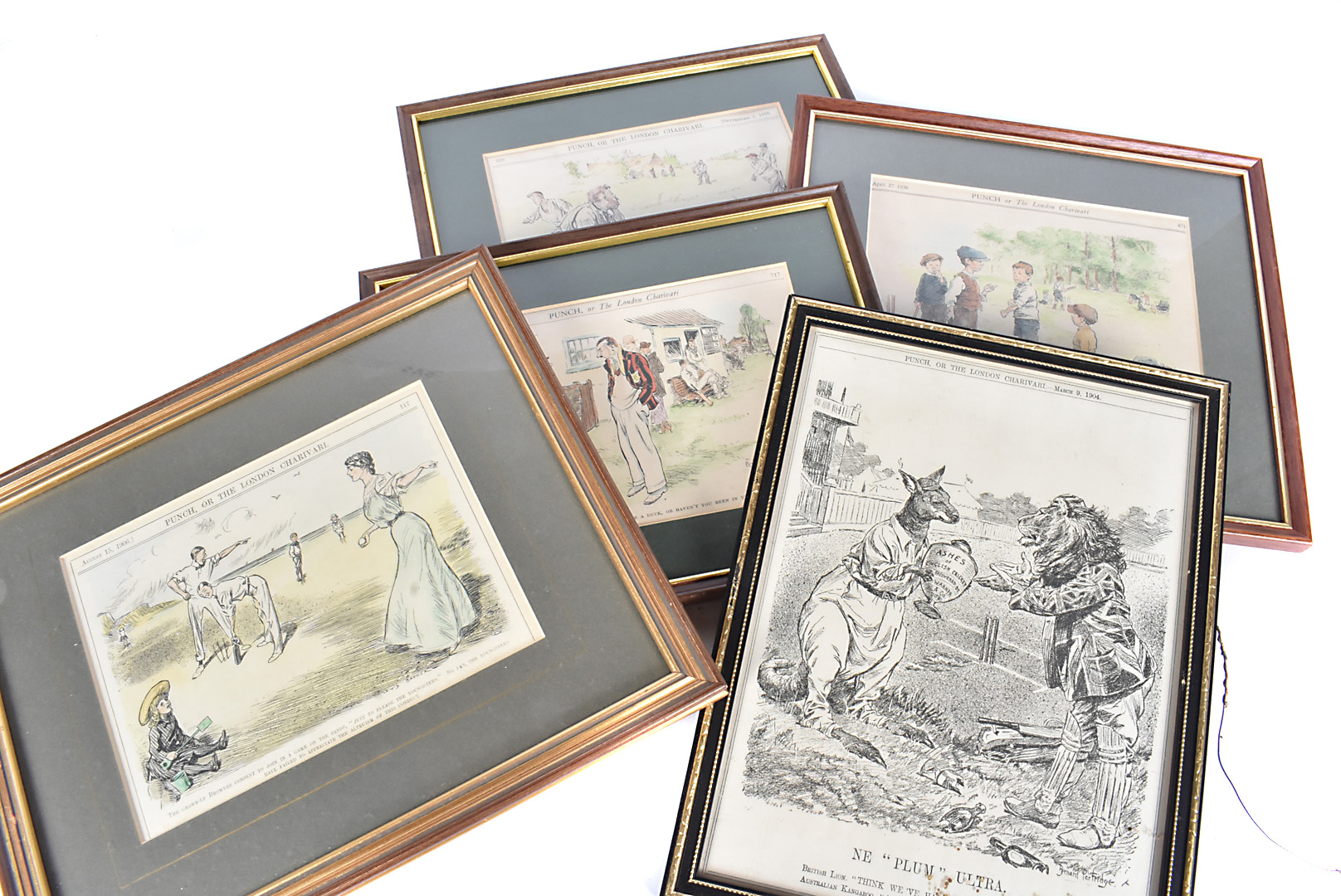Cricket Humour Prints, ten Punch publications prints all framed & glazed dating from the 1900s