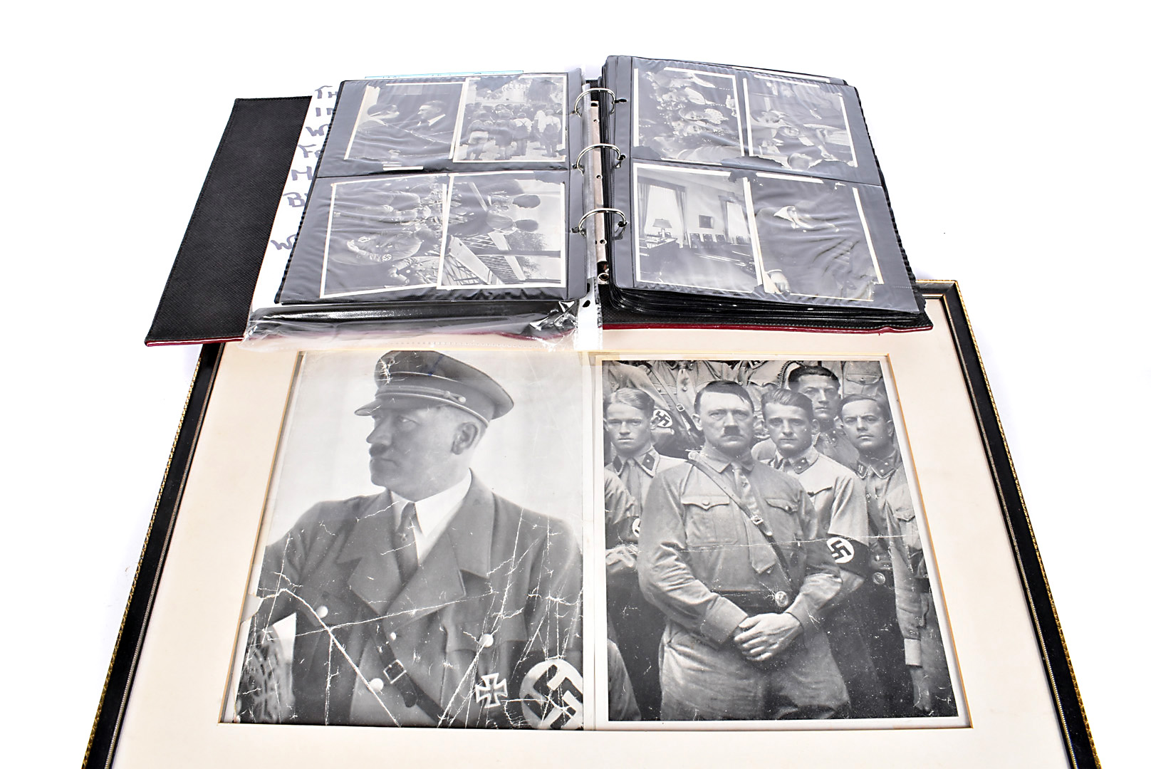 A selection of WWII German black and white photographs, depicting German troops, Hitler, various