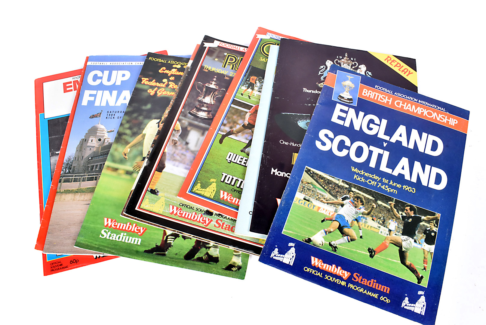 Wembley Programmes 1980s, twenty four programmes from England games and cup finals from 1980 to