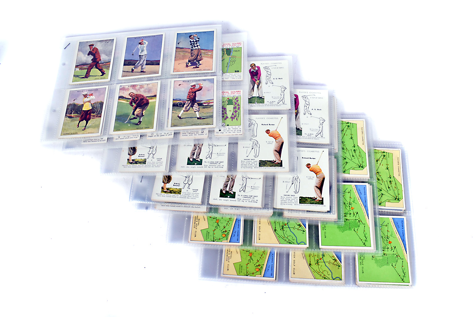 Golf Themed Cigarette Cards, various sets comprising, Churchmans 3 Jovial Golfers (36),Wills