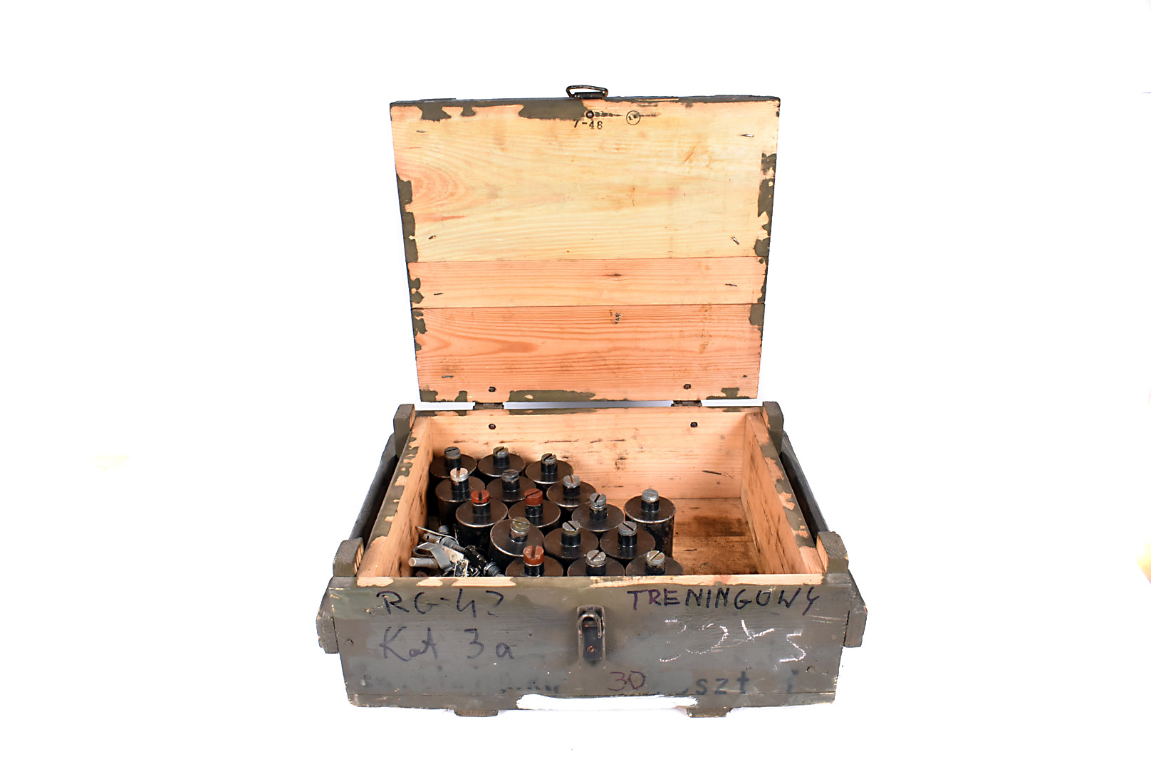 A crate of twenty inert RG42 grenades, complete with pins