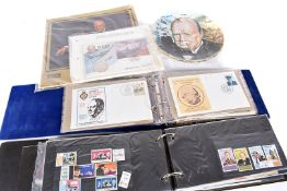 An assortment of Winston Churchill reated items, comprising First Day Covers, Commemorative coins,
