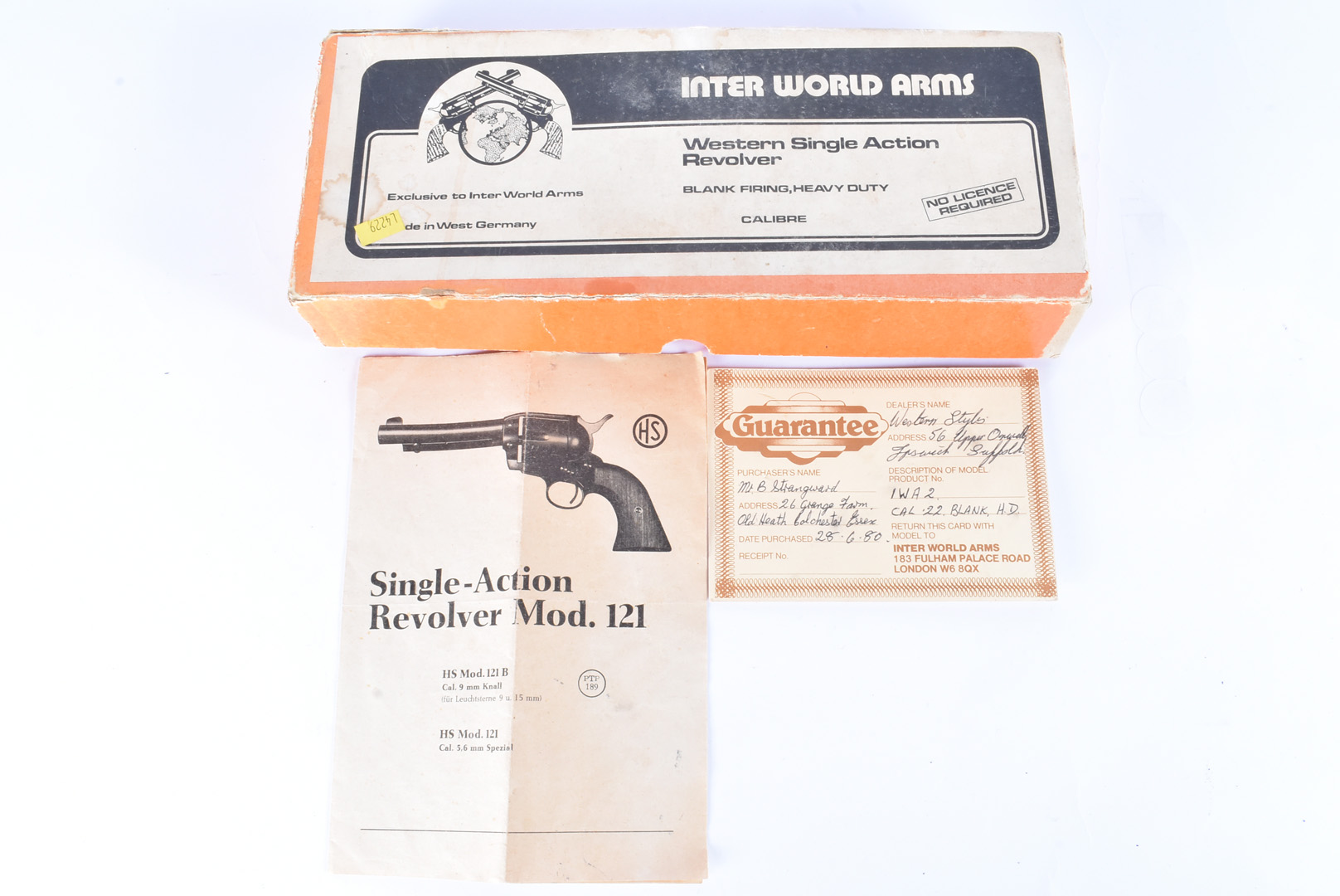 A West German Inter World Arms Western Single Action Blank Firing Revolver, .22 calibre, the metal - Image 6 of 6