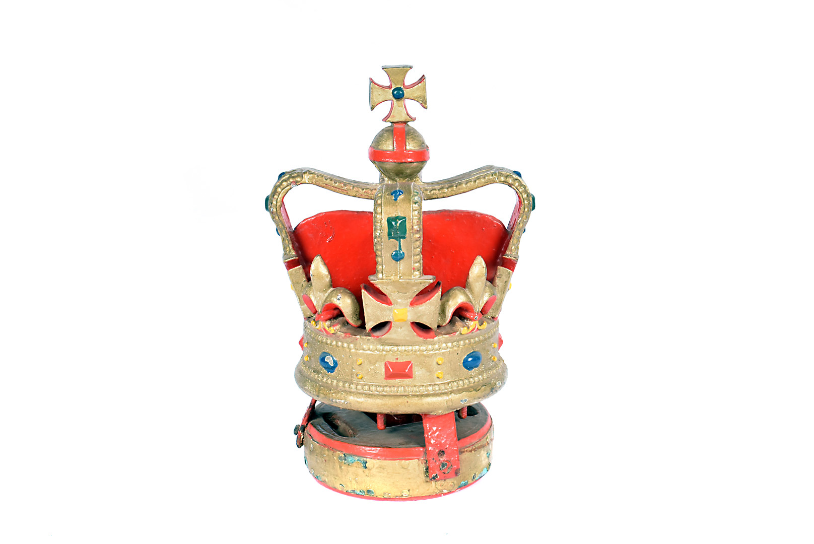 A cast iron hand painted ship's mast head, in the form of the British Queen's Crown, painted in gold