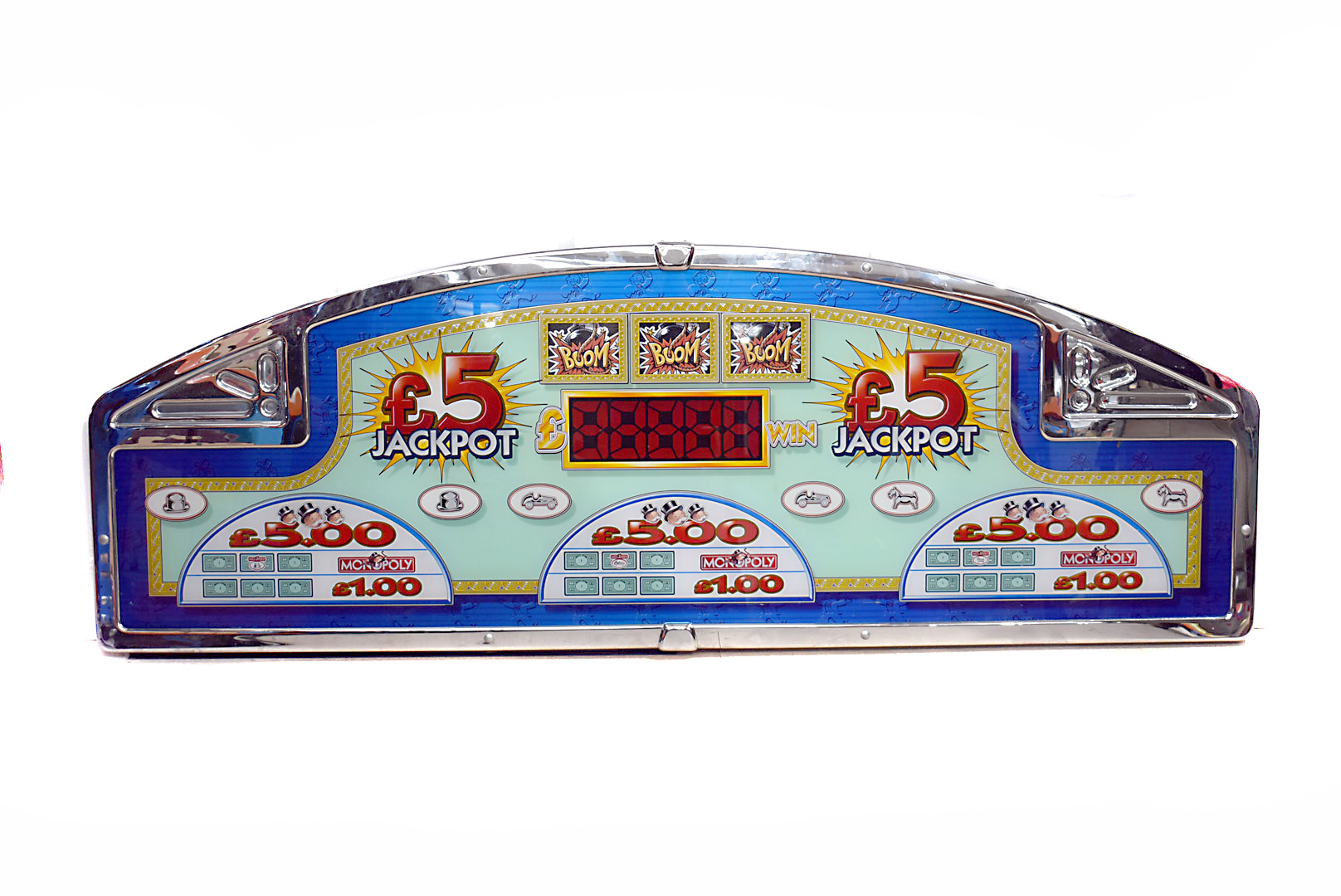 A large Monopoly Arcade machine topper, approximately 220cm wide, probably topping multiple Monopoly
