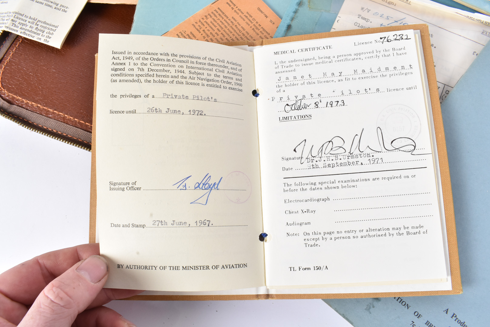 A Female's Private Pilot Licence and Log book, dated to the 1970s, the documents for Private - Image 3 of 5