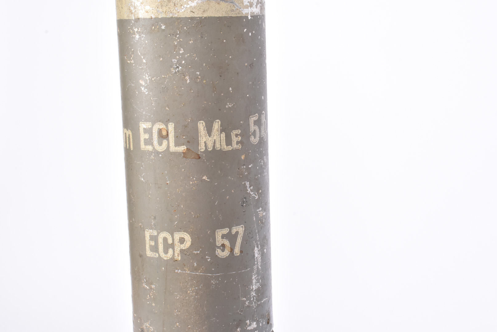 An inert 60mm ECL MLE 54 Mortar, possibly French, 36cm in length with stencilling to the middle, - Image 3 of 4