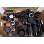 A Tray of Lenses and Lens Converters, lens brands include Bell & Howell, Hanimex, Kiron, Mitakon,