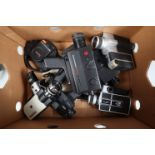 A Tray of 8mm Cine Cameras, including a Rollei Movie Sound XL 8 macro, a Rollei SL 81, a Yashica