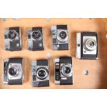 A Tray of Viewfinder Cameras, including two Halina 35X Super, an Agfa Silette L, Silette LK, a