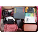 A Tray of Various Cameras, including a Polaroid 640 Instant camera with a maker's pink soft case,