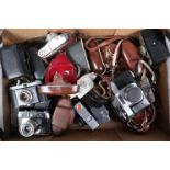 A Tray of Viewfinder Cameras, manufacturers include Agfa, Halina, Kodak, Ilford, Zeiss Ikon, and