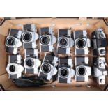 A Tray of Praktica Camera Bodies, a Praktica L, LB, LTL, two LTL 3, two MTL 3, a MTL 5, Nova II,