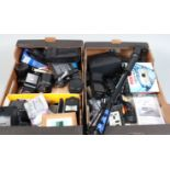 Two Trays of Camera Related Items, including out of date 120 film stock, flash units, a Pentax Optio