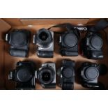 Canon DSLR bodies, EOS40D, EOS350D and EOS600D, 300D and 350D, both with 18-55mm zoom lenses, with