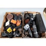Two Trays of Camera Related Items, including zoom lenses,flash units, lens bubbles, tubes and