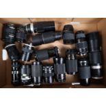 A Tray of SLR Lenses, brands include Aicomatic, Canon FL, Carl Zeiss Jena, Coslinar, Hanimex, Isco-