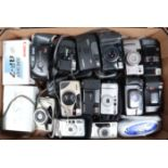 A Tray of Compact Cameras, manufacturers include Canon, Konica, Olympus, Minolta and other examples,