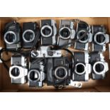 A Tray of SLR Camera Bodies, including Olympus OM10 (3), OM20 (2), A/F, Yashica TL Electro,