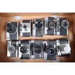 A Tray of Rangefinder Cameras, including a Yashica Campus, Hanimex Holiday II, Agfa Super Silette,