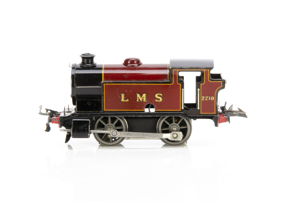 A converted Hornby 0 Gauge Type 101 0-4-0Tank Locomotive, a post-war version in LMS crimson as no