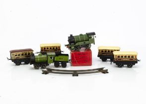 An Early Hornby O Gauge Clockwork 'M' Series Set and boxed No 501 Locomotive, with green fixed-key