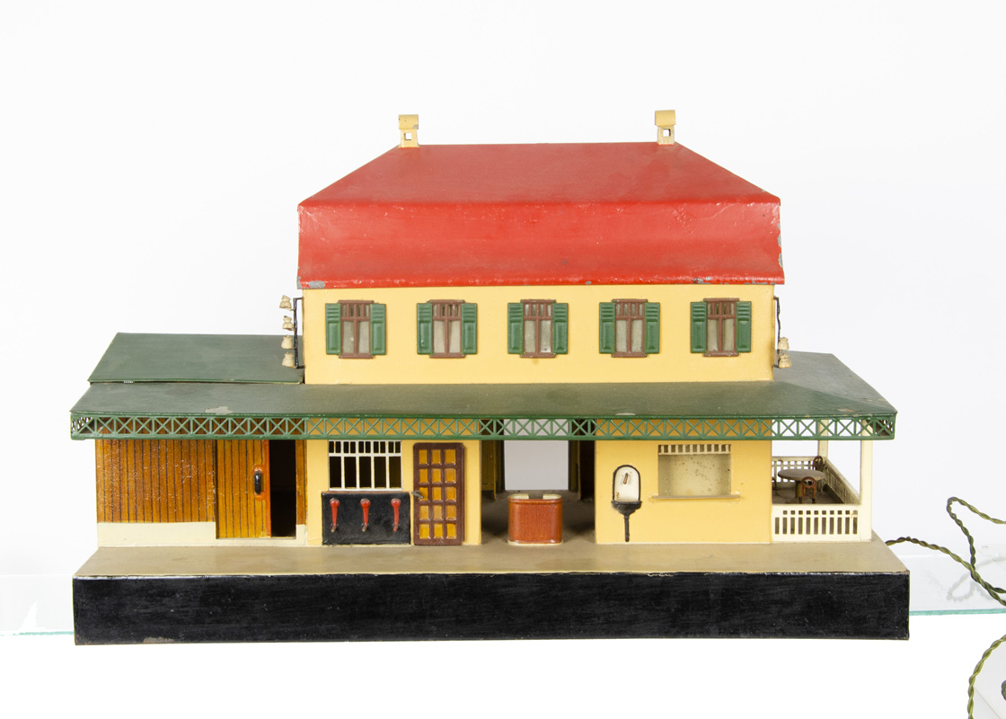 """A Large Märklin Gauge 1 Station, overall length of platform 21"""", the 2-storey building with hipped"""