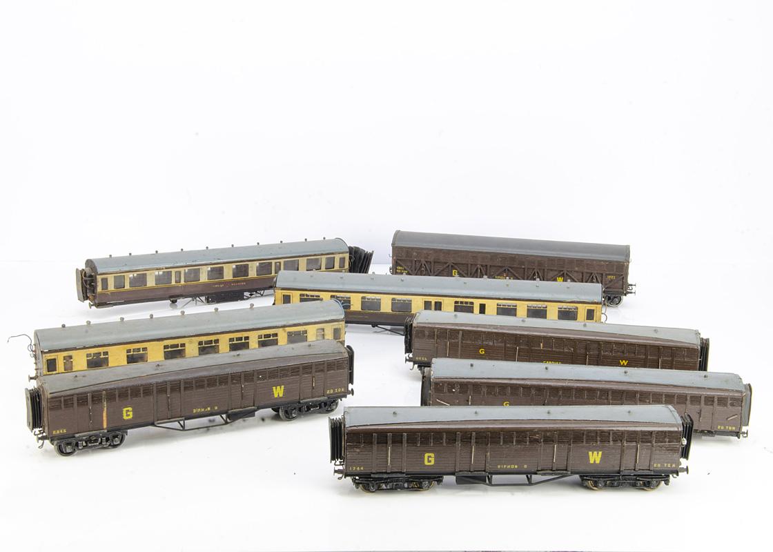 Vintage Scratchbuilt Great Western 0 Gauge Coaching Stock for restoration, three complete Siphon G