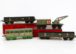 Hornby 0 Gauge GWR No 2 Freight Stock, a circa 1933-4 cattle wagon in green-grey with green base and
