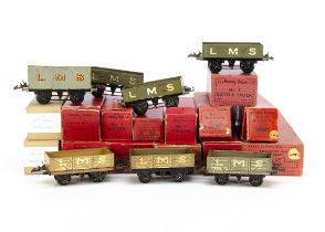 Hornby 0 Gauge LMS Breakdown Crane and 4-wheeled Freight Stock, most in original or similar boxes,