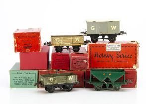 Hornby 0 Gauge GWR 4-wheel Freight Stock, mostly in modern or non-original boxes, including brake