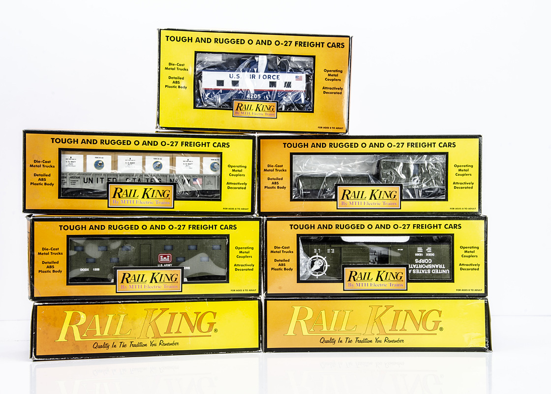 Rail King by MTH 0 Gauge Military Rolling Stock, USAF blue/white Caboose 4205, US Navy Gondola and