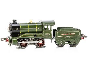 A converted Hornby 0 Gauge No 1 Locomotive and Tender, both in Great Western lined green, the loco
