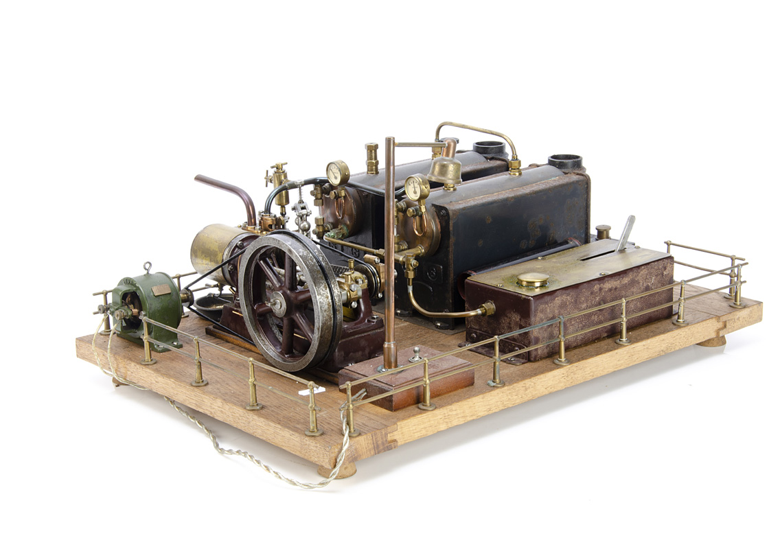 A complete Stuart Turner spirit-fired operating Steam Horizontal Mill Engine and Generator,