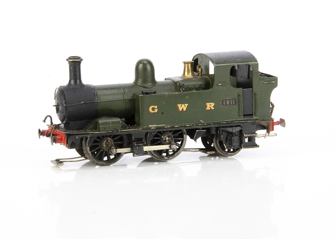 A Scratchbuilt 0 Gauge 3-rail GWR 14xx class 0-4-2 Tank Locomotive, appears fitted with a