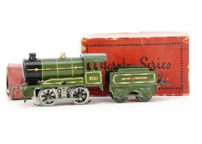 A converted Hornby 0 Gauge No O Locomotive and Tender, both in Great Western lined green, the