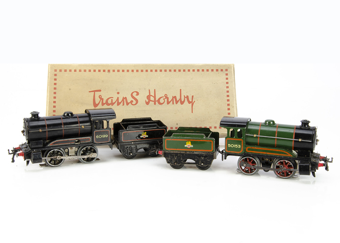 Converted Hornby 0 Gauge No 50 and 51 Locomotives and Tenders, both fitted with pre-war electric