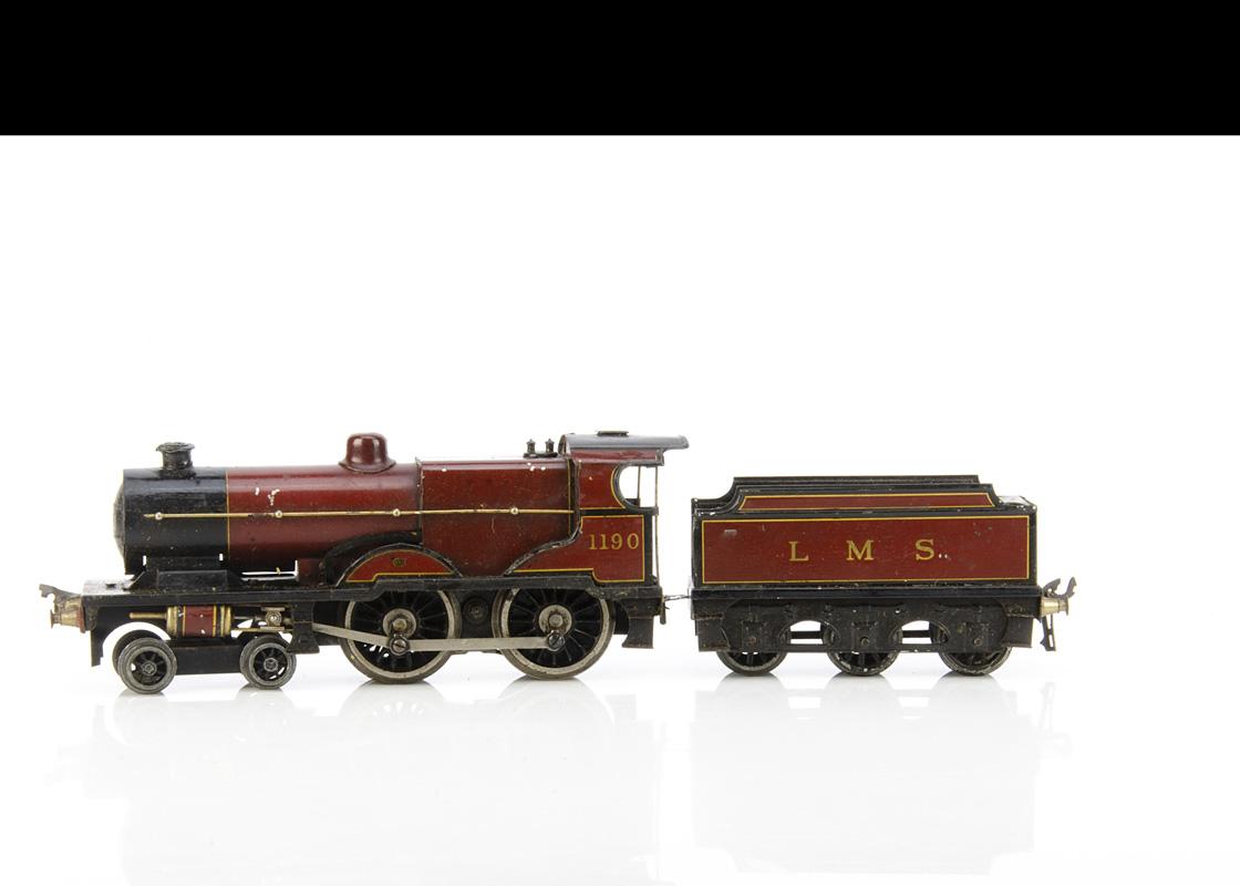 A Bassett-Lowke 0 Gauge 3-rail 'LMS Compound' 4-4-0 Locomotive and Tender, an original electric loco