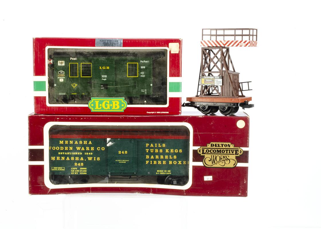 LGB Delton G Gauge Goods Rolling Stock, LGB 3530 Catenary Tower wagon, 3019 Post Office Van,
