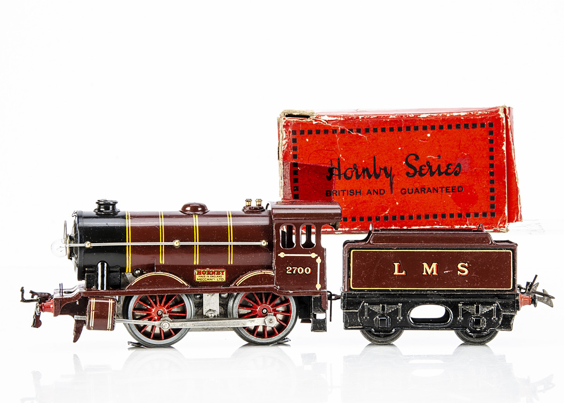 A Hornby 0 Gauge No E120 20-volt AC 'Special' Locomotive and Tender, both in LMS lined crimson,